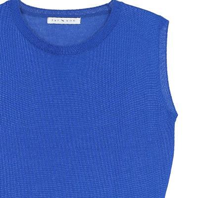 round neck cardigan blue & slim line sleeveless knit top blue